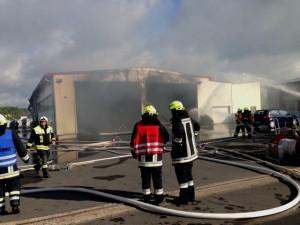 Busbrand in Halle Röthlein